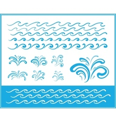 Set of wave symbols for design vector image