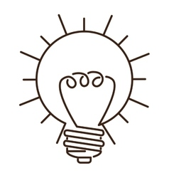 silhouette light bulb flat icon in sun shape vector image