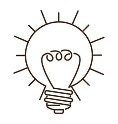 Silhouette light bulb flat icon in sun shape vector