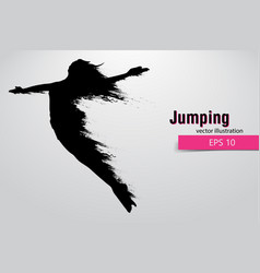 Silhouette of a jumping girl vector