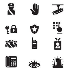 Silhouette security icons set vector image