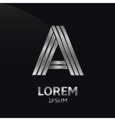 Silver letter symbol vector