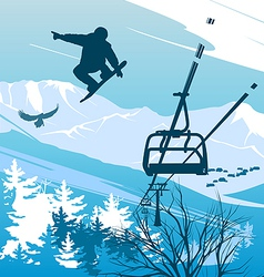 Snowboarder on a background of mountains vector