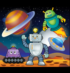 Space theme with robots 1 vector