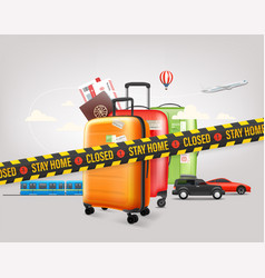 Stay home concept travel baggage and different vector