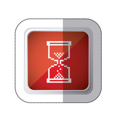 Sticker red square button with silhouette vector