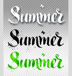 Summer word watercolor brush painted lettering vector