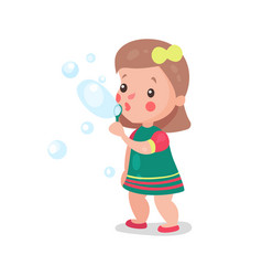 sweet cartoon little girl playing with soap vector image