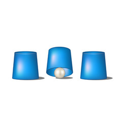 Thimblerig with blue cups and ball vector