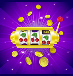 Three cherry signs on slot machine display banner vector
