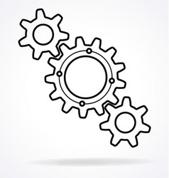 Three meshing gears icon logo vector