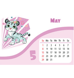 Tiger desk calendar design template for may 2022 vector