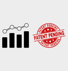 Trend chart icon and grunge patent pending vector