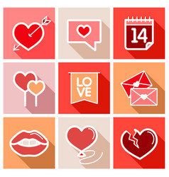 valentine day set icons vector image