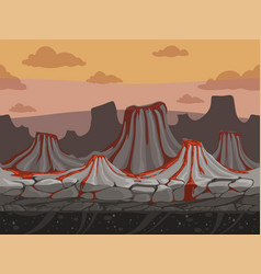 volcanoes seamless game background rockie ground vector image