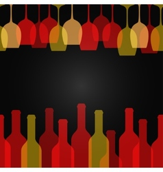 wine glass bottle art design background vector image
