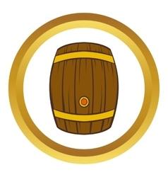 Wooden barrel of beer icon cartoon style vector