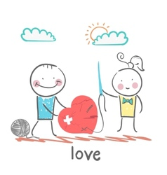 A girl and a guy with a needle and thread sewn vector