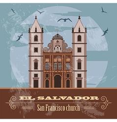 El Salvador landmarks San Francisco church Retro vector image