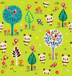 panda bears in forest seamless pattern vector image vector image