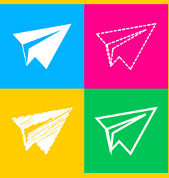 paper airplane sign four styles of icon on four vector image