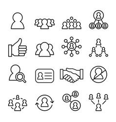 social network icon set line icon vector image
