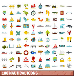 100 nautical icons set flat style vector image vector image