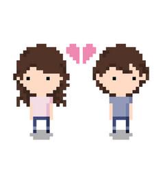 couple breaking up icon pixel 8 bit style vector image