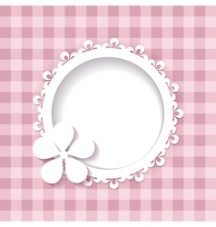 a frame and a flower on the pink background vector image
