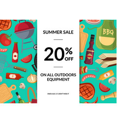 barbecue or grill elements horizontal sale vector image