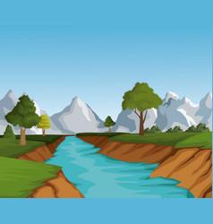 beautiful landscape view vector image