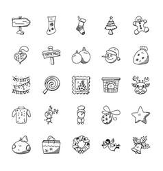 creative christmas doodles set vector image