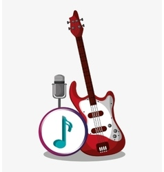 Electric guitar and microphone design vector