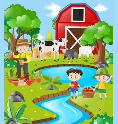 farm scene farmer and boys by the river vector image