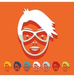 Flat design face girl vector image