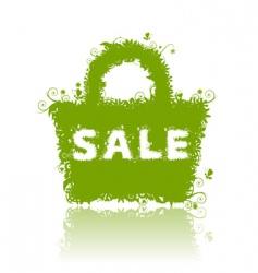 floral shopping bag sale vector image