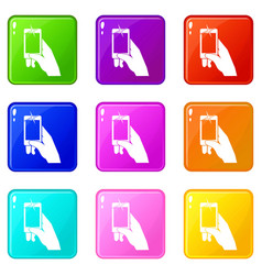 Hand taking pictures on cell phone icons 9 set vector