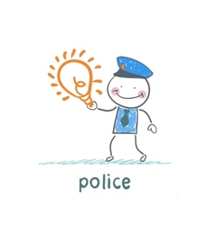 Police keeps the idea of vector image vector image