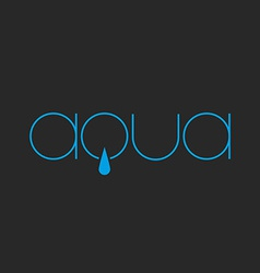 Aqua lettering logo of thin line fresh water drop vector image