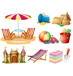 Beach set with seat and toys vector image