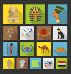 egypt travel icon collection vector image
