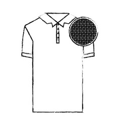 monochrome blurred silhouette of polo shirt short vector image