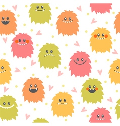 Seamless pattern with cartoon smiley monsters vector image