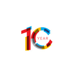 10 years anniversary celebration out color vector