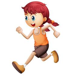 a cute girl running vector image