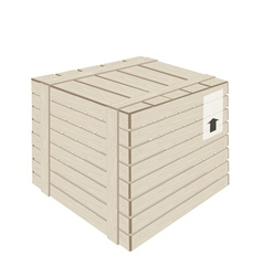 A Wooden Cargo Box on White Background vector image