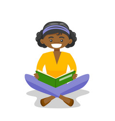 African-american college student reading a book vector