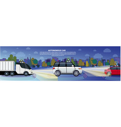 Autonomous cars and truck on night road template vector