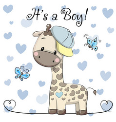 Baby shower greeting card with cute giraffe boy vector