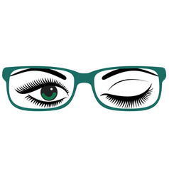 Beautiful womens green eyes with glasses vector